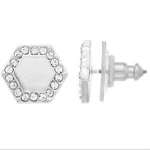 NWT Nine West pave hexagon stud earrings